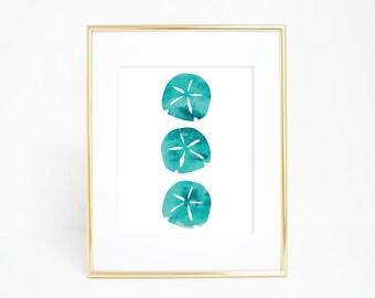 Sand Dollar, Sand Dollar Print, Beach House Decor, Blue Print, Beach Print, Printable Wall Art, Digital Printable Wall Art, Aqua Art Print