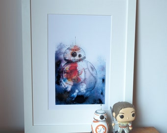 BB8 abstract, geeky Star Wars art. Print of my original painting.