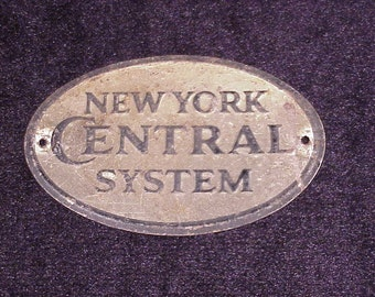 Vintage New York Central System Small Metal Oval Plaque, Railroad