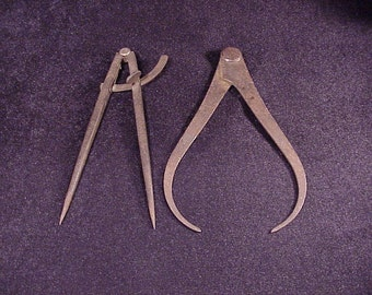 Lot of 2 Rustic Rusty Calipers, Old, Vintage Tools, Home, Man Cave Decor, Shelf Display