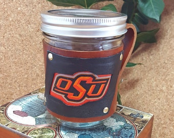 Leather Mason Jar Holder / Sleeve / Wrap