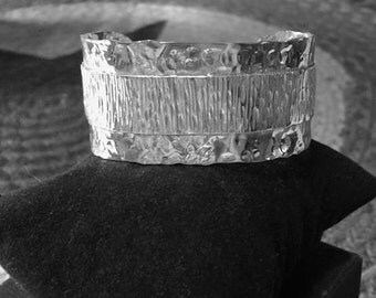 Hammered Sterling Silver Cuff Bracelet with Diamond Cut Silver Overlay