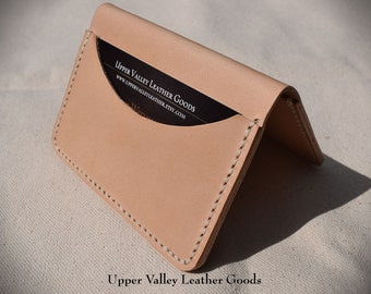 Thin Leather Wallet,  Three pocket wallet, Minimalist leather wallet, Handmade, Natural
