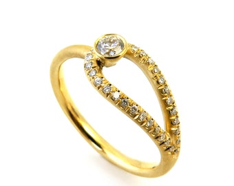 Diamond engagement ring, Unique Engagement Ring, Delicate Diamond ring, Infinity diamond Ring, Modern engagement ring, Pave diamond ring
