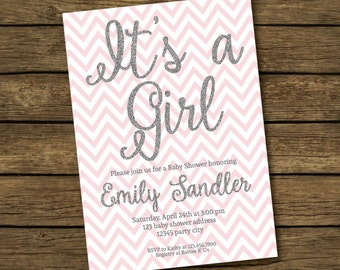 Baby Girl Shower Invitation Printable - Pink and Silver Baby Shower Invites, Silver Glitter Printable Baby Shower Invitation - It's a Girl