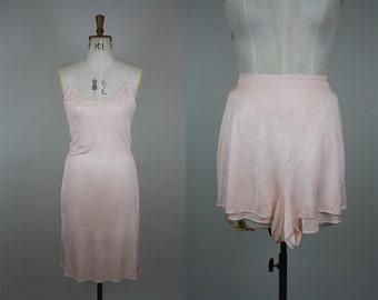 CC41 Slip and Tap Pants Set / 1940s Lingerie Set / 40s Panties / Petticoat and Knickers Set / 40s Pink Slip / Size Medium / M L