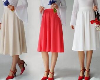 midi skirt elastic waist, pockets, red coral ,cream, black,  50s, 70s, flared, flattering, swing, boden,skater, beige, retro
