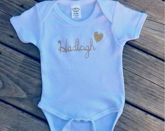 Custom Designed / Personalized Name Heart Baby Short-Sleeve Onsie / Deeper Waters