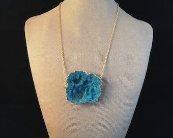 Large Druzy Pendant Necklace