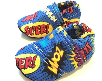 Buy 2, Get 1 Free: superhero baby shoes, comic book baby moccs, shoes for baby boys, baby boy shoes