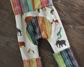 Colorful animals and quill stripe maxaloones miniloones cloth diaper pants stretchy and adjustable made with birch organic knit