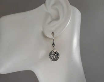Small Sterling Silver Celtic Triskele Earrings, Triskelion Earrings, Triskele Jewelry, Made in Montana Jewelry Gift for Wife Gift for Teens
