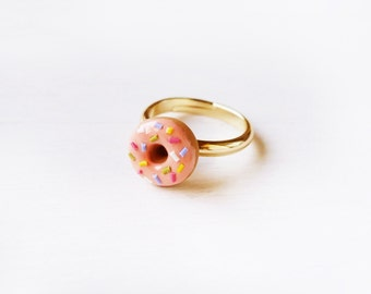 Elfi Handmade Cute Pink Rainbow Sprinkles Doughnut Ring, Perfect for Christmas gifts, Donut Ring, Cute Ring, Best Selling, Lolita, Kawaii
