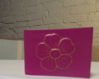 Small natural leather fuksy color notepad with a flower decor