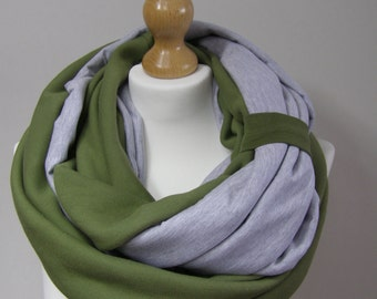chunky scarf,infinity scarf, cotton infinity scarf, fabric cowl,fabric wrap, scarf,olive cowl,grey scarf,cotton scarf,fabric scarf,