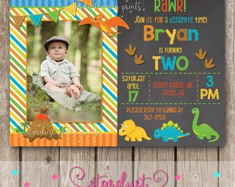 Dinosaur Birthday Invitation, Dinosaur Invitation, Dinosaur Birthday, First Birthday Invitation, Dinosaur Chalkboard dinosaur invitation