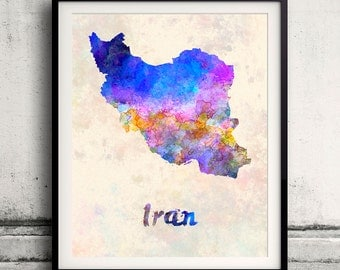 Iran - Map in watercolor - Fine Art Print Glicee Poster Decor Home Gift Illustration Wall Art Countries Colorful - SKU 1797
