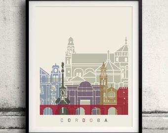 Cordoba skyline poster - Fine Art Print Landmarks skyline Poster Gift Illustration Artistic Colorful Landmarks - SKU 2219