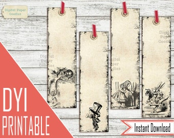 Alice in Wonderland Bookmarks PRINTABLE Bookmarks, Alice Printable gift for book lover, vintage bookmark