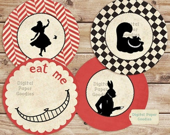 Alice Cupcake Toppers PRINTABLE party INSTANT DOWNLOAD
