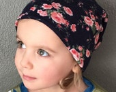 Girls Slouchy Beanie Reversible, Girls Beanie, Girl Hat, for Baby and Toddler - Vintage Floral
