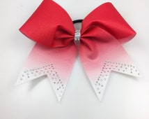 Red Glitter Ombre Cheer Bow Rhinestones Personalized Cheerleading, Volleyball Softball Team Bow Summit Bow Texas Size Gift