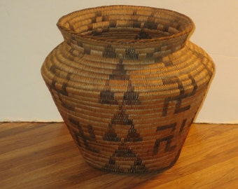 Antique Pima Indian Olla Basket With Whirling Log Designs, Very Early And Rare