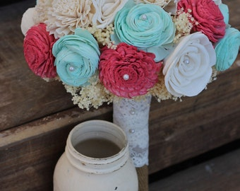 Deep Coral and Mint Bouquet