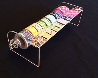 New XL Size! - Handmade Acrylic Washi Tape Dispenser XL Size - Crystal Clear Design - All Designs Available