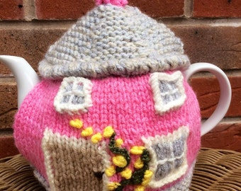 Pink picture Tea Cosy, cottage Tea Cosy, cute teacozy, pink tea cozy, house tea cosy, knitted teacosy, different tea cosies, TEACOSY, TEA,