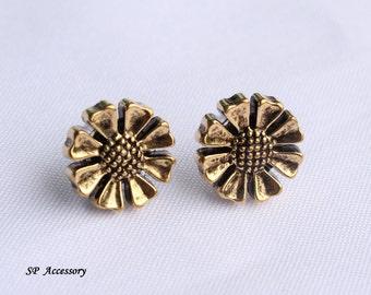 Vintage earrings, golden earrings, sunflower stud, flower stud