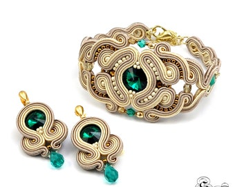 Set of bracelet and earrings,Soutache set,Elegant set,Glamour set,Soutache glamour,Soutache bracelet,Soutache earrings,Swarovski earrings