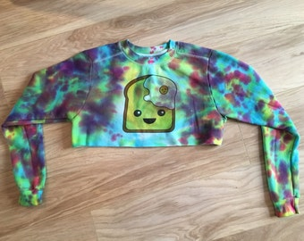 Limited edition egg on toast cropped tie dye sweatshirt