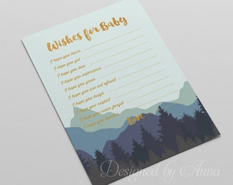 Forest wishes for the baby card woodland printable baby shower game instant download blue and gold wishes for baby shower party wild nature