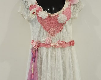 Fairy/flowergirl/boho upcycled dress