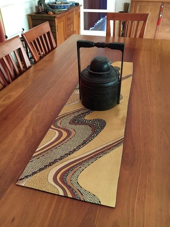 vintage japanese obi table runner black gold white red. Black Bedroom Furniture Sets. Home Design Ideas