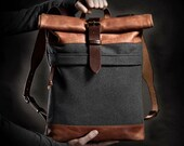 Wool felt backpack by Kruk Garage Men's backpack Roll top backpack Vintage backpack Men's gift Birthday gift Gift Winter backpack
