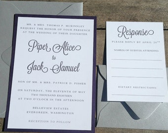 Purple Wedding Invitations, Silver Wedding Invitation Suite, Modern Wedding Invitations