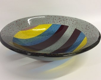 Striped Large Fused Glass Bowl - Multiple Sizes to Choose From