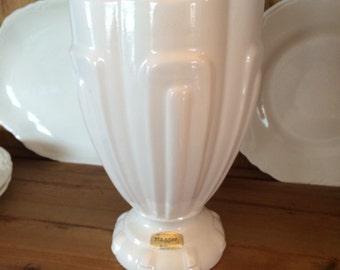 "HAEGER Vintage White Ironstone Pottery VASE W/ TAG~Art Deco Style~Large 9"" Vase~Perfect For Farmhouse or Cottage Decorating!"