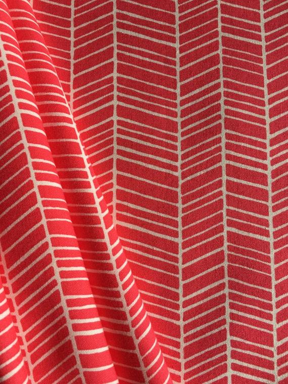 Free Spirit Fabrics Joel Dewberry Flora Herringbone in Poppy PWJD036 1/4 yard to 1/2 yard