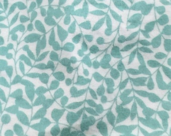 8.99 per yard! Final Clearance Sale! Cloud9 Organic Flannel: Aqua Leaves