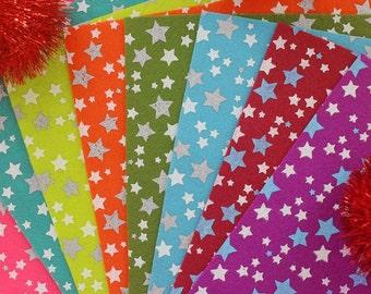 Stars Printed Felt Sheet -20cm x 20cm - 8 colours/pack - Felt Fabric DIY Craft Sewing Fabric  Polester Felt