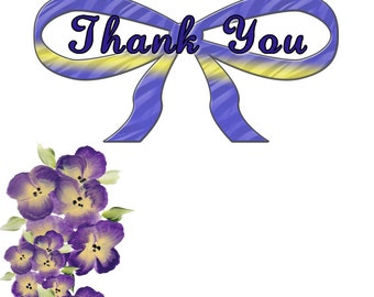 Thank You Cards with Purple Pansies (3)