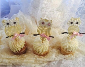 Owl Cupcake Toppers - Owl Birthday Party - Owl Baby Shower - Owl Decorations - Owl Party Item - Baby Party - First Birthday - Customized - 3