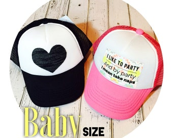 Measure before ordering! YAY for baby trucker hats-this tiny baby size(46-48cm) is perfect for babes to match they're awesome parents!