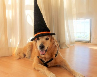 Witch Hat for Dogs, Dog Witch Hat, Halloween Hat for Dogs, Large Breed Dog Costume, Halloween Dog Hat, Witch Dog Hat