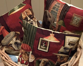 3 belgian tapestry gobelin throw pillow cushion covers dogs playing pool, poker and chess for him
