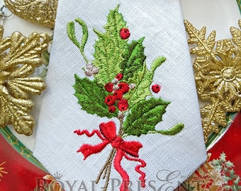 Vintage Christmas Machine Embroidery Design with holly berry 2