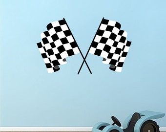 Checkered Flag Decal Checkered Flags Wall Design Race Car Flag Wall Mural Flag Wall Sticker Kids Bedroom Sports Racing Flag Wall Decals, s05
